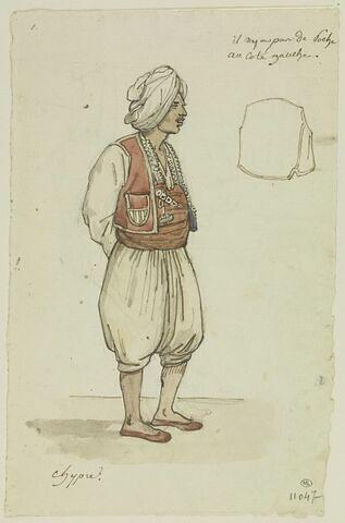 Turc vêtu de blanc, d'une veste et d'une ceinture rouge ; veste : Chypre