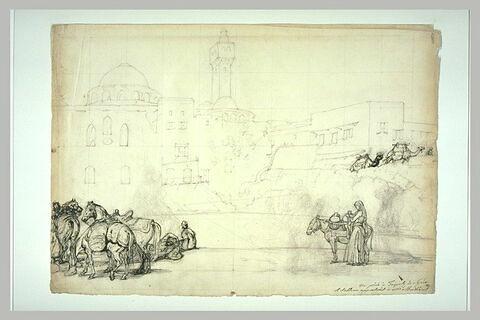 Personnages et chevaux devant une mosquée