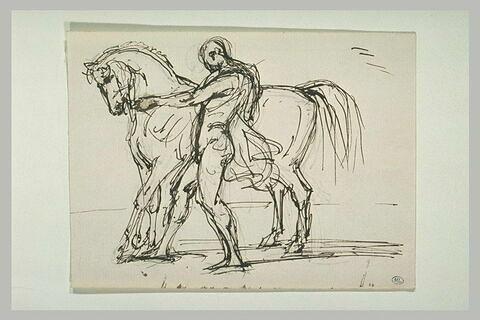 Homme nu, de profil à gauche, maintenant un cheval tourné vers la gauche
