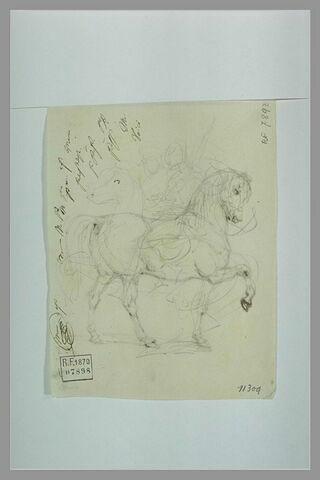 Croquis de cavaliers de profil à gauche ; essais d'écriture et de signature