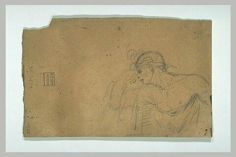 Homme, le torse nu, portant la main droite à ses yeux