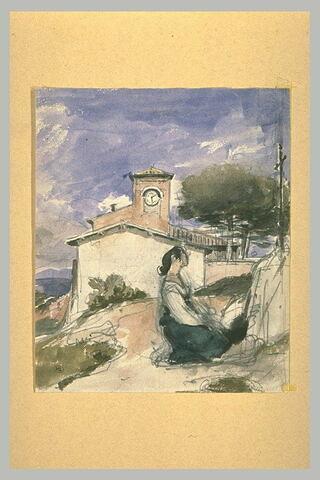 Paysanne italienne à genoux, de profil à droite, devant un crucifix