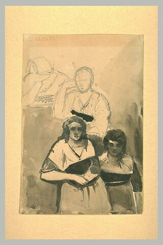 Deux paysannes, debout, de face et croquis de deux personnages