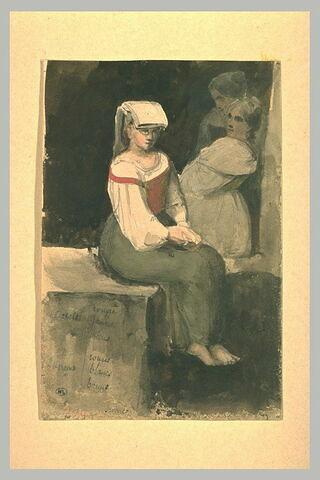 Jeune paysanne romaine assise, de trois quarts à droite, sur un mur