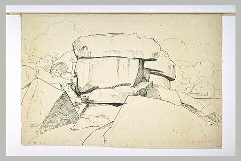 Amas de gros rochers dans un paysage