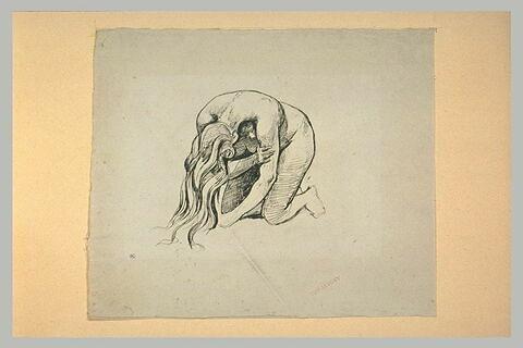 Etude de femme nue, à genoux, la tête penchée, la chevelure épandue