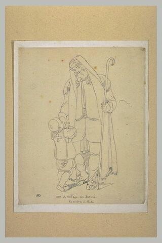 Vieillard, debout, de face, vêtu d'un caftan et de jambières : Curé de village et novice des environs de Thèbes