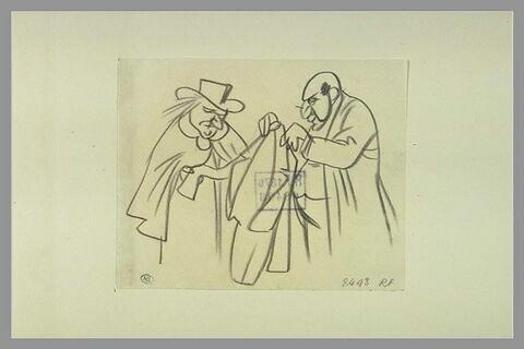 Deux hommes examinant un vêtement