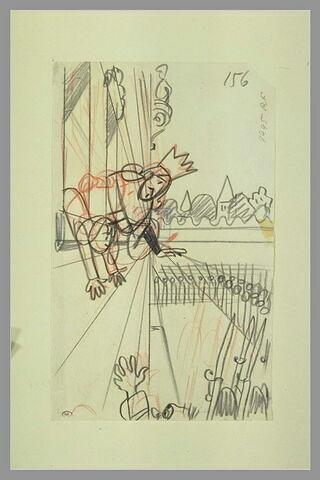 Un roi en costume de cérémonie et un enfant se penchant à une fenêtre