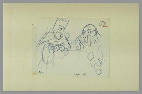 Un roi en costume de cérémonie et un homme tenant un rouleau de papier