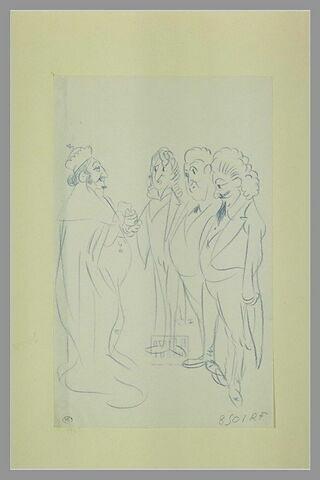 Un roi en costume de cérémonie, debout, regardant trois artistes chevelus