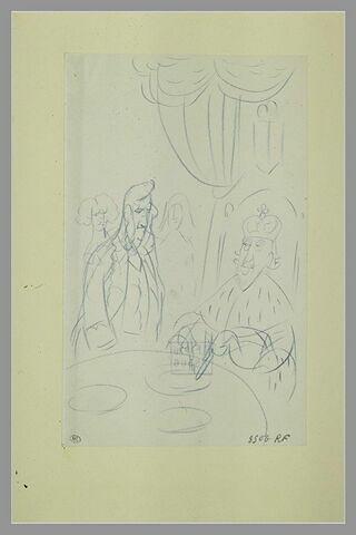 Un roi en costume de cérémonie prenant son repas devant trois figures