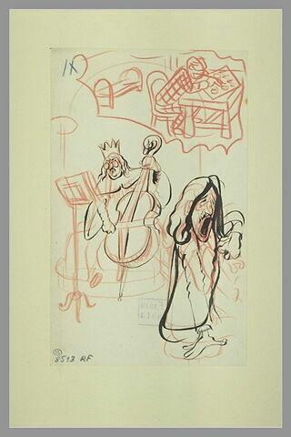 Roi en costume de cérémonie jouant du violoncelle et un pianiste ; croquis
