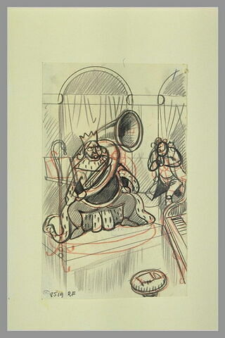 Un roi en costume de cérémonie jouant d'un cor gigantesque et une figure