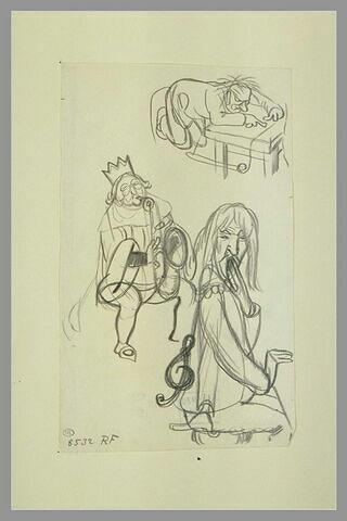 Un roi, assis, soufflant dans un saxophone et un pianiste ; croquis