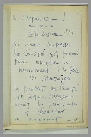 Note manuscrite et date : 1894
