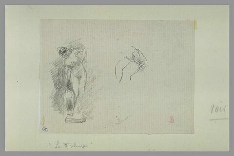 Femme nue, debout, de face, le buste incliné : croquis