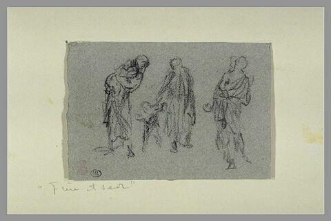 Femme tenant un enfant ; femme guidant les pas d'un enfant ; figure