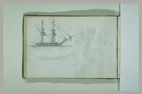 Deux études de bateaux ; paysage