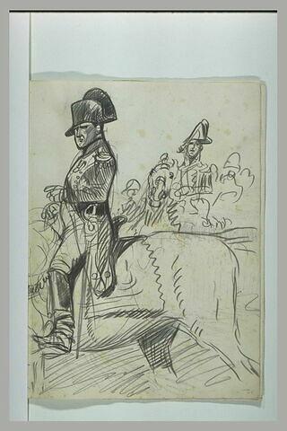 L'empereur Napoléon Ier à cheval passant ses troupes en revue