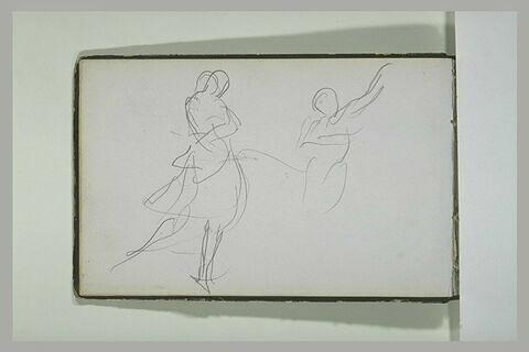 Figure debout ; figure tendant les bras