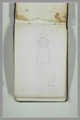 Femme, debout, de dos ; femme, en buste, de profil, Granville