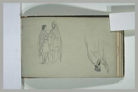 Homme barbu coiffé d'une tiare ; deux figures se faisant face