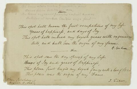 Notes manuscrites en langue anglaise