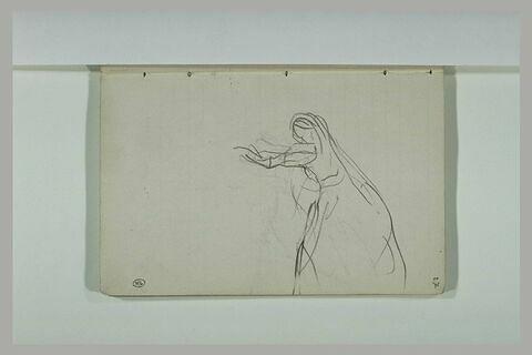 Femme, debout, tendant le bras