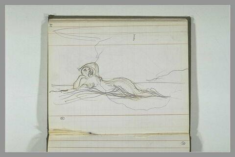 Femme nue allongée, en appui sur son coude droit
