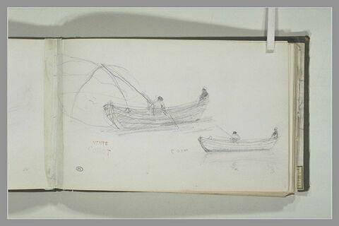 Deux barques avec des pêcheurs à Caen