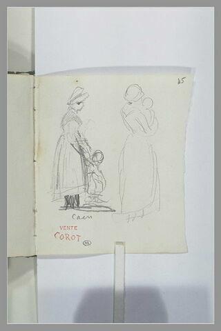 Deux esquisses de femmes avec un enfant, à Caen