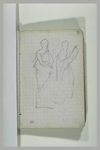 Deux figures en toge romaine portant des tablettes