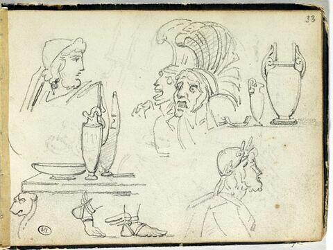 Etudes de sandales, de vases, et de figures grecques
