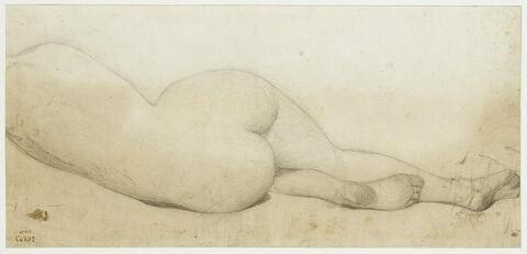 Femme nue, couchée sur le côté gauche, de dos