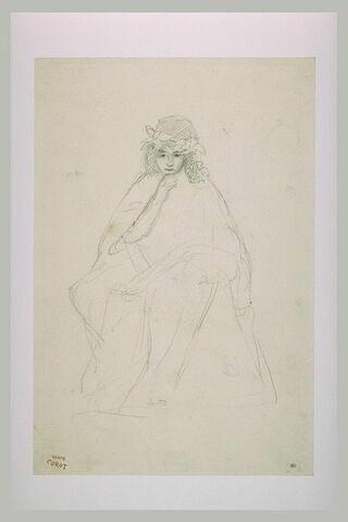 Jeune femme assise, la tête ceinte d'une couronne de feuillage