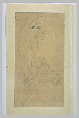 Femme portant un fagot, et deux enfants sous un arbre