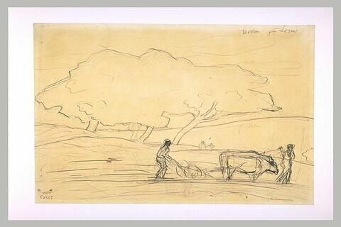Paysan labourant son champ dans le Morvant