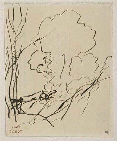 Paysage boisé, avec un personnage près d'un arbre