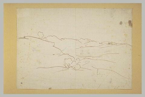 Croquis schématique d'un paysage de montagne