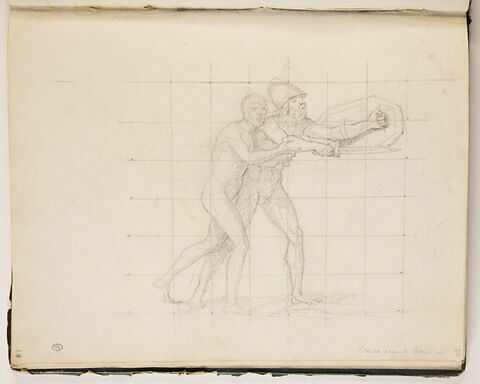 Etude pour 'Léonidas aux Thermopyles', et annotation manuscrite