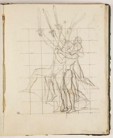 Trois hommes nus levant l'épée, étude pour 'Léonidas aux Thermopyles'