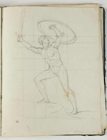 Homme nu armé, étude pour 'Léonidas aux Thermopyles'