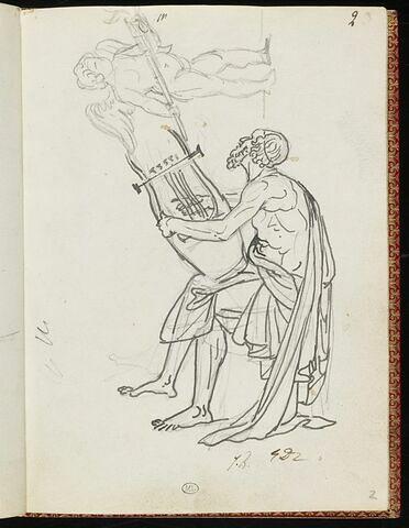 Angelot tenant une torche allumée, et homme drapé jouant de la lyre