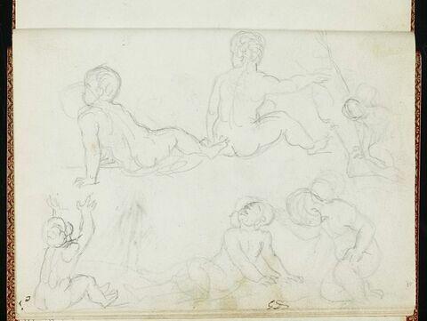 Croquis d'enfants nus, assis par terre, dans diverses attitudes