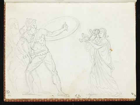 Esquisse pour Tatius, et la femme tenant son enfant devant elle