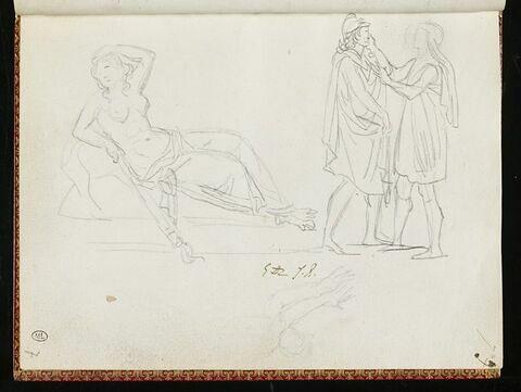 Jeune femme tenant une torche renversée, et deux personnages à l'antique