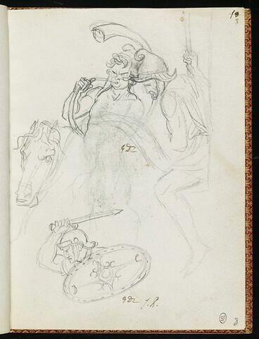 Deux cavaliers dont un souffle dans une trompe, et guerrier avec un bouclier