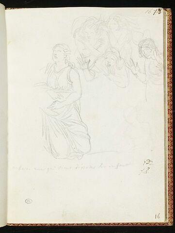 Groupe de femmes dont une est à genoux ; annotation manuscrite