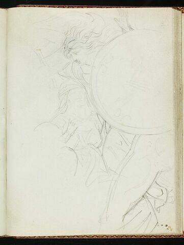 Deux femmes à demi-cachées par le bouclier que tient un homme nu